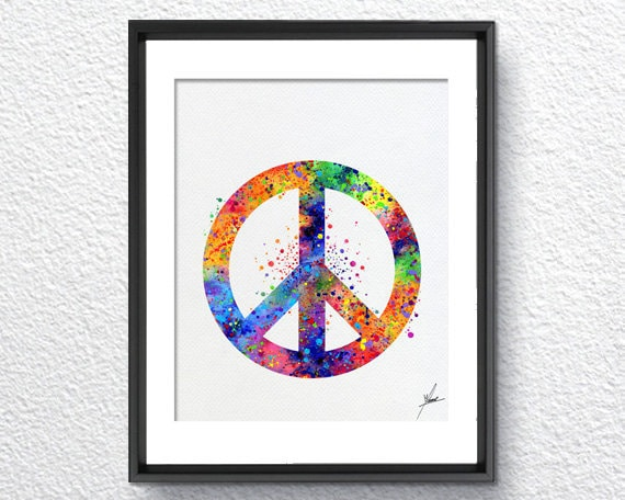 Peace And Love Symbol Watercolor Art Print Poster Giclee Wall Etsy