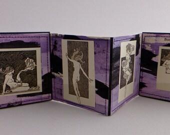 Artist's Book, Handmade Book, Accordian Binding, Miniature Artist's Book, Miniature Book