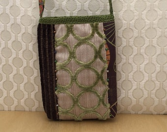 Cloth crossbody cell phone bag, upcycled recycled textile purse, green and brown shoulder bag