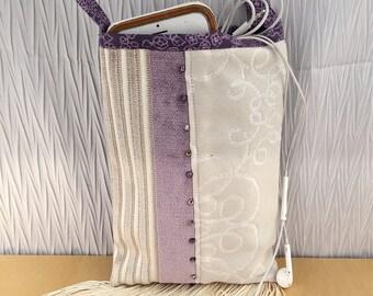 Gift for her, fringe cross body cloth bag,  smartphone bag, recycled upcycled designer upholstery fabrics, velvet, beads and fringe