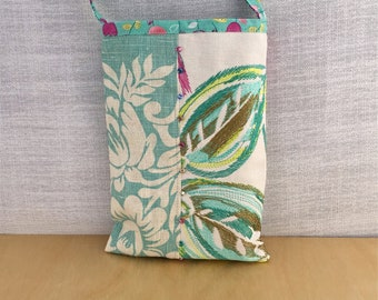 Tropical handmade cloth crossbody beach bag, mint and turquoise, cellphone and smart phone bag, beads add sparkle