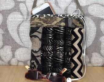 Handmade cloth crossbody, black and brown bag, casual, fabric tapesty, shoulder satchel, grunge rocker bag