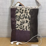Fabric crossbody purse, urban fashion, small cell phone pouch, casual purse, purple and gray bag