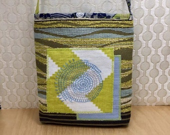 Handmade embroidered purse, cloth crossbody bag, slow stitch bag, powder blue and chartreuse shoulder purse with hand stitching