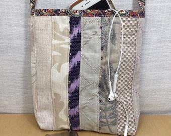 Casual cloth crossbody bag, boho festival, fabric sling bag, cream and purple pouch, casual bag