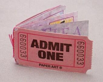 Flea Circus Artist's Book, Handmade Book, Admit One ticket, Flea Circus, Circus, Flea, Pink, Funny, Humor