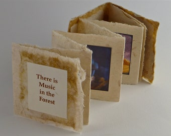 Handmade Artists' Book, Miniature Artist's Book, Mushroom Art Book, accordian book