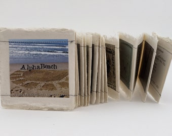Beach Alphabet Artists' Book, Handmade Book, Miniature Artists' Book, Accordian Book, Beach Photographs