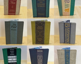 Book wallet, Book, library, music, ballet, biology, Hawaii, up-cycled books