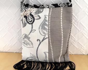Upcycled designer upholstery samples, crossbody cloth purse,  smartphone bag, sustainable practice,  black fringe