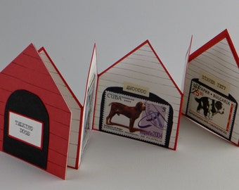 Dogs, Dog house, Artists' Book, Handmade Book, Miniature Artists' Book, Miniature Book, Handmade Book, Postage Stamps