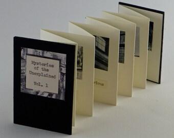 Artist's Book, Artists' Books, Miniature Artists' Book, Miniature Book, handmade book, black and white, architectural, accordian binding