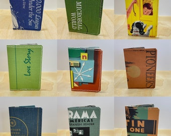 Upcycled, recycled slim wallet for graduate. Book lover, Pioneers, Love, Dictonary, Spanish, Latin, Jules Verne