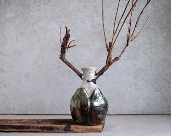 Handmade Raku Beetle Vessel, Porcelain Art Object, Unique Ceramics, Wooden Mandible, Crackle Copper Raku, Ceramics Art Gallery Piece, Gift