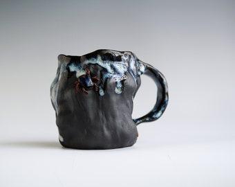Handmade Ceramic Mug, Drips of Glaze, Beetle mini Sculpture, 10 oz, Black Clay Porcelain, Nature Inspired Ceramics, Pottery Gift Him Her #8