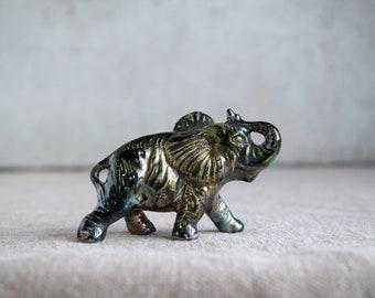 Raku Ceramic Lucky Elephant, Copper Glaze, Miniature Figurine Elephant, Unique Home Decor, Handmade Housewarming Pottery Gift