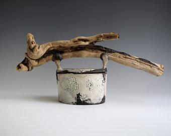 Handmade Raku Vessel, Unique Raku Ceramics, One of The Kind Art Object, Crackle Raku Glaze, Canister Wood Handle Lid, Cookie Jar, Gift