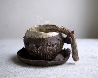 Ceramic Handmade Mug with Wooden Handle, Rustic Pottery, Raw Clay, Coffee Mug & Saucer, Unique Tea Cup, Clay Pottery Gift for Coffee Lovers.