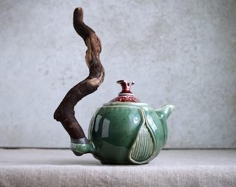 Handmade Ceramic Teapot, Porcelain Exclusive Art, Beetle Theme Collection, 20 oz, Unique Tea Ceremony Gift, Nature Inspired Ceramics Art,