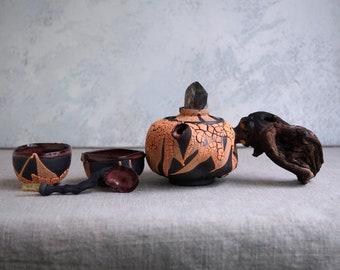 Handmade Ceramic Tea Ceremony Set, Orange Glaze, Teapot & Two Cups, Spoon, Crackle Texture, Smoky Quartz Crystal, Wood Handle, 8 oz