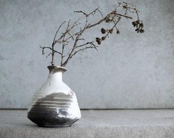 Handmade Ceramic Vase, Unique Raku Firing Vase, Ceramic Art Object, Unique Lizard Skin Raku Glaze, Crackle Texture, Wheel Thrown Pottery