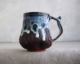 Handmade Ceramic Mug, 16 oz, Bark Texture, Unglazed Terracotta Clay, Drips of Glaze, One of the Kind Piece