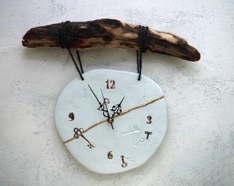 Handmade Ceramic Clock, 22K Gold Luster Clock, Kintsugi, Wood Wall Hanging Clock, Nature Inspired Ceramic Arts, Home Decor, Unique Gift