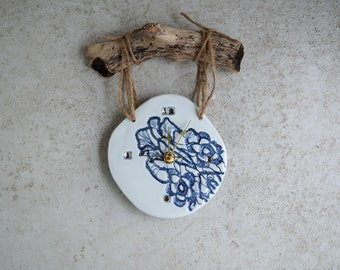 Handmade Ceramic Clock, 22K Gold Luster Clock, Cobalt Blue Lace Imprint, Wood Wall Hanging Clock, Blue Home Decor, Unique Fun Gift