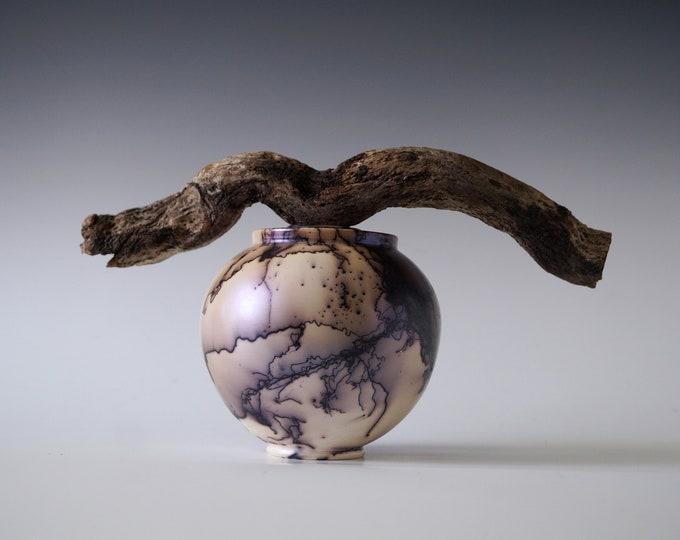Featured listing image: Handmade Raku Vessel, Iridescent Raku Arts, Horse Hair Firing, Wooden Handle Jar, Unique Ceramic, One of a Kind Object, Gallery Art Piece