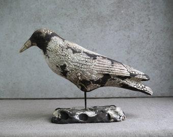Handmade Raku Craw, Kintsugi, Ceramic Bird Totem, Home Decor, Crackled Rustic Raku, Unique Housewarming Gift, Porcelain, Contemporary Art
