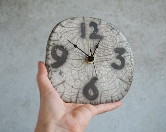 Handmade Ceramic Clock, Raku Firing Clock, Wall/Hanging Clock, Rustic Clock, Wall Clock, Raku Housewarming Gift for Him