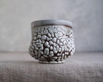 Handmade Ceramic Cup, Mug, Vine/Sangria Cup, Perfect Gift,  Beads Texture, 7 oz, Ceramic Arts, One of the Kind Piece #2