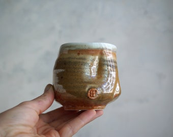 Handmade Ceramic Cup, Chawan, Vine Cup, 6 oz, Unique Shino Glaze, Tea Bowl, Porcelain, Ceramic Art, Tea Ceremony Gift