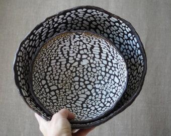 Handmade Ceramic Set of 2 Bowls, Serving Dishes, Dry Black Sea Glaze, Beautiful Organic Shape, Nature Inspired Ceramic Art #1