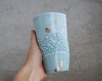 Handmade Ceramic Teacup, 22k Gold Decal Handle-less Mug, Translucent Porcelain Pottery, Ice-Blue Celadon, Tall 16oz, Coffee-lovers Gift
