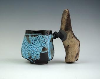 Handmade Ceramic Mug, Wooden Handle, Cracle Texture Mug, 16 oz, Ceramic Arts, Unique Pottery Gift, One of the Kind Piece