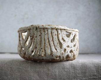 Handmade Orchid Pot, Wicker Bowl, Ceramic Berry Fruit Bowl, Volcanic Glaze, Speckle White Glaze, Organic Shape, Nature Inspired Ceramic Arts