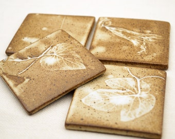 Ceramic Hand Made Tiles/Coasters Set of 4, One Of a Kind Ceramic Tiles, Real Greap Leaves/Vine Imprint, Rustic Matte Glaze, Unique Gift Idea