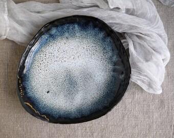 Handmade Ceramic Plate, Serving Plate, Black Sea Glaze,Unique Ceramics, Food Prop Pottery, Unique Dish 22k Gold Luster, Nature Inspire Art#4