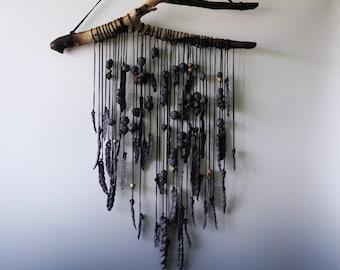 Handmade Ceramic Wall Hanging, Black Porcelain Wind Chimes & Garden Art, Unique Whimsical Wall Decor, Housewarming Piece.