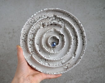 Handmade Raku Maze, Wall Hanging Game, Unique Raku Ceramics, One of The Kind Art Object, Crackle Raku Glaze, Exclusive Pottery Gift