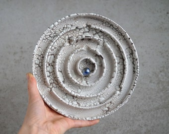 Handmade Raku Maze, Wall Hanging Game, Unique Raku Ceramics, One of The Kind Art Object, Crackle Raku Glaze, Exclusive Pottery Gift