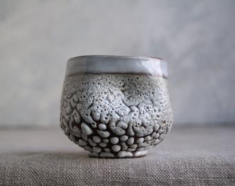 Handmade Ceramic Cup, Mug, Vine/Sangria Cup, Perfect Gift,  Beads Texture, 7 oz, Ceramic Arts, One of the Kind Piece #3