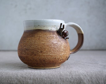 Handmade Ceramic Mug, Snail Mini Sculpture, Lava Craters Texture, 18 oz, Sienna Glaze, Ceramic Arts,  Pottery Gift, One of the Kind Piece