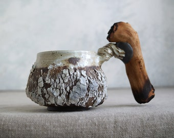 Handmade Ceramic Mug, Wooden Handle, Bark Texture Mug, 12 oz, Ceramic Arts, Unique Pottery Gift, White-Brown Cracks, One of the Kind Piece