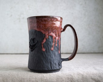"Handmade Ceramic Mug, Beer Stein, ""Rustic Sunrise"", 20 oz, Beetle Large Mug, Unglazed Black Clay, Drips of Glaze, Nature Inspired Ceramics"