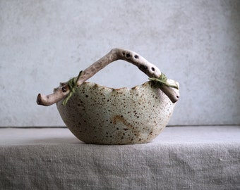 Handmade Ceramic Bowl, Salad/ Fruit Bowl with Wooden Handle, Tableware, Organic Shape, Nature Inspired Ceramic, Wedding/Mothers's Day Gift