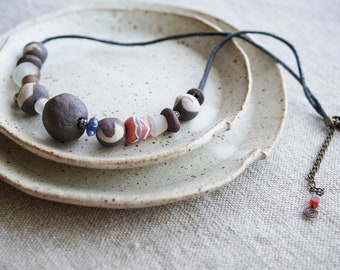 Handmade Ceramic Necklace, Free Shipping, Rustic Handcrafted Jewelry, Ancient Glass Bead, Handmade Beads Necklace, Ceramic Lovers Gift