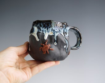 Handmade Ceramic Mug, Drips of Glaze, Beetle mini Sculpture, 10 oz, Black Clay Porcelain, Nature Inspired Ceramics, Pottery Gift Him Her #1