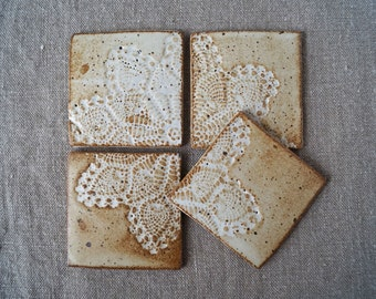 Ceramic Hand Made Tiles/Coasters Set of 4, One Of a Kind Ceramic Tiles, Classic Lace Doily Imprint, Rustic Matte Glaze, Pottery Gift Idea